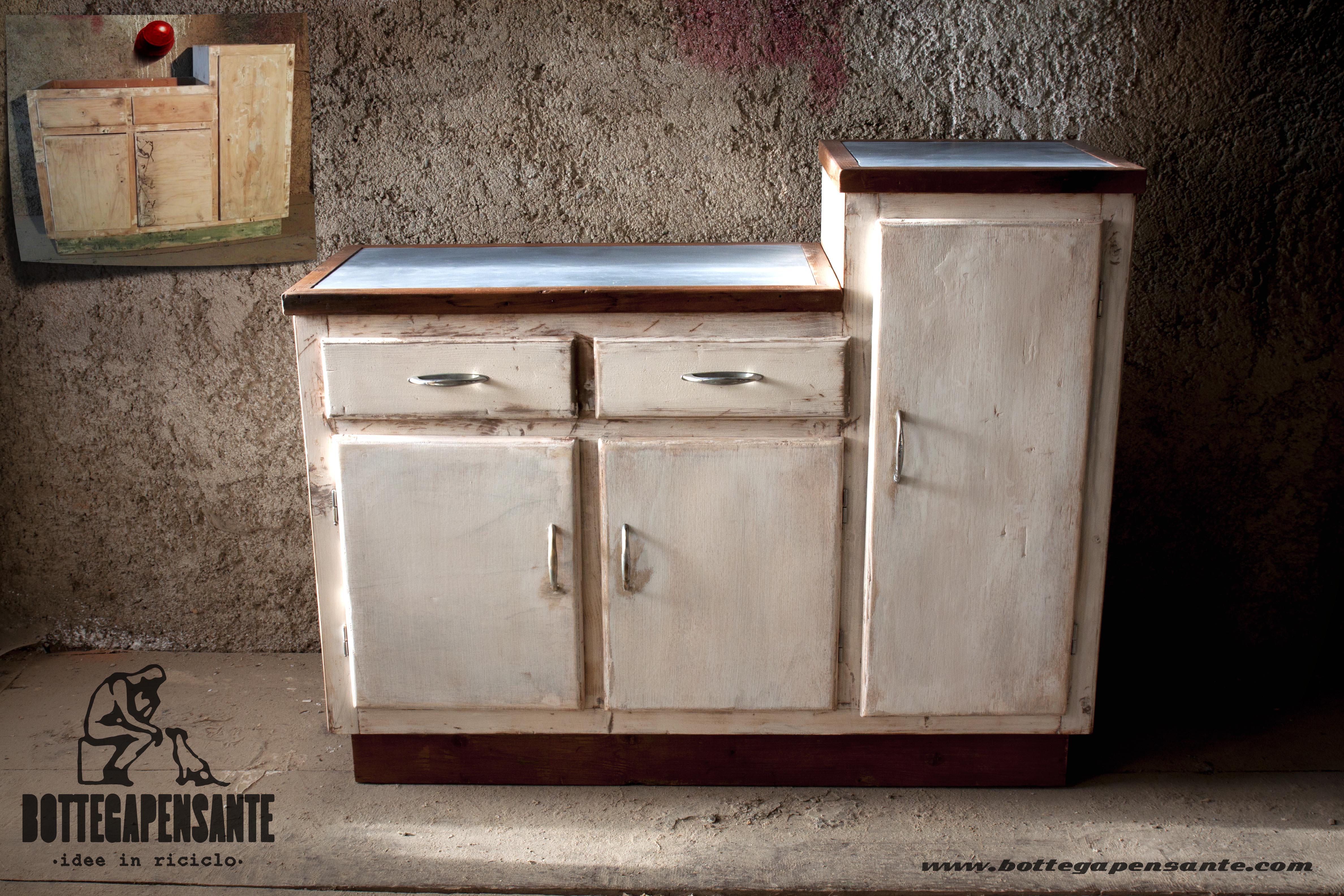 Mobile da cucina bianco riciclato vintage bottega - Mobili vintage anni 60 ...